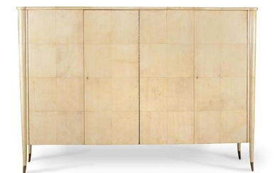 An Art Deco large parchment cabinet or wardrobe