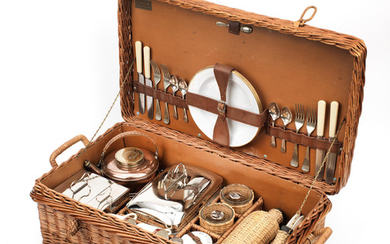 A 'Coracle' brand wicker-cased picnic set for four persons by G W Scott & Sons, circa 1909,