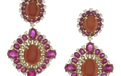 Pair of Coral, Ruby and Diamond Earrings