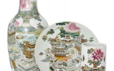 Eight pieces of Chinese famille rose porcelain,...