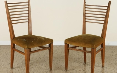 PAIR OF LADDER BACK OAK CHAIRS STYLE OF GIO PONTI