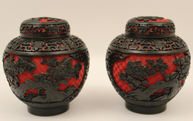 PR. OF CHINESE CINNABAR CAPPED JARS