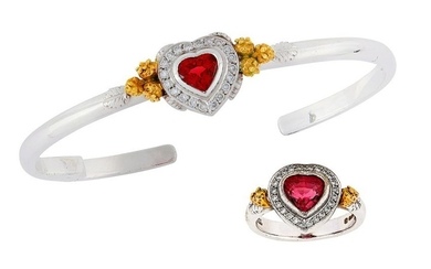 A 'Strawberry Tryst' cuff and ring suite, by Theo