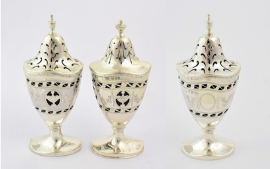 Two George V Three-Piece Condiment-Sets, the first by Philip Hanson...