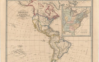 "Uncommon Map with a Late Depiction of Franklin, ""North & South America; for the Elucidation of the Abbe Gaultier's Geographical Games"", Aspin, Jehoshaphat"