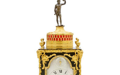 An unusual gilt and patinated bronze small four tune musical table clock