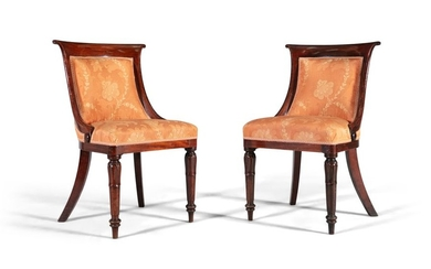A PAIR OF WILLIAM IV ROSEWOOD FRAMED LIBRARY CHAIR…