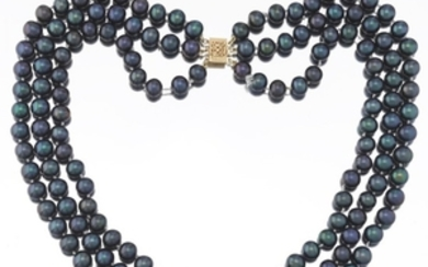 Ladies' Triple Strand Black Cultured Pearl Necklace