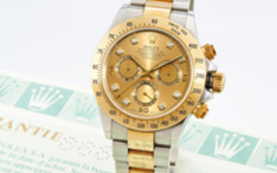 Rolex. A Yellow Gold and Stainless Steel Chronograph Bracelet watch with Diamond indexes
