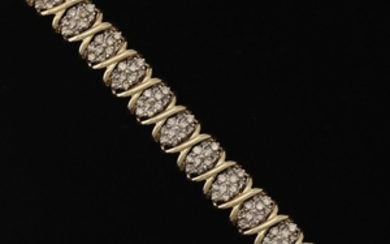 Ladies' Gold and Champagne Diamond Wide Bracelet