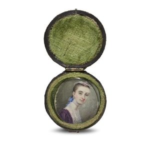 Anglo/American School 18th century Portrait miniature of a young...