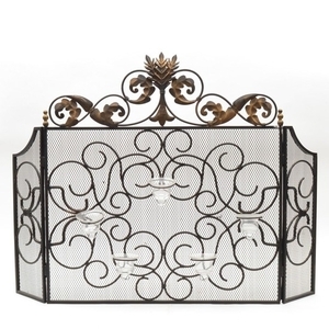 Lot Art Brass And Metal Fireplace Screen With Candleholders