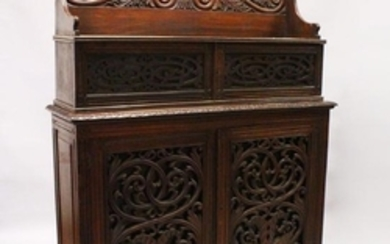 A 19TH CENTURY ANGLO INDIAN PADAUK WOOD CHIFFONIER,