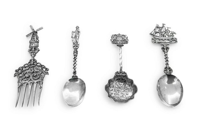 A Group of Four European Silver Decorative Utensils