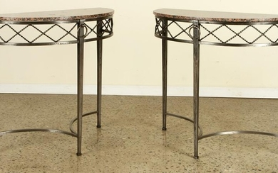 PAIR WROUGHT IRON CONSOLES MANNER RAYMOND SUBES