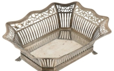 Bonbon basket rectangular model with flared ajour openwork sides and open sawn feet silver.