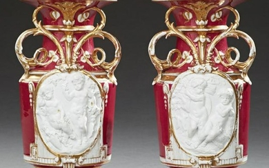 Pair of Unusual Continental Porcelain Handled Baluster