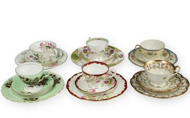 (18 Pc) Continental Porcelain Teacups and Saucers