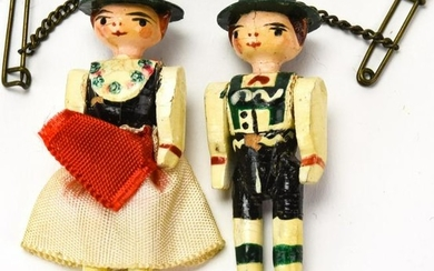 Pair Antique Hand Carved & Painted Grodnertal Doll