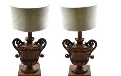 A Pair of Italian Pine Lamp Bases, 18th century and...