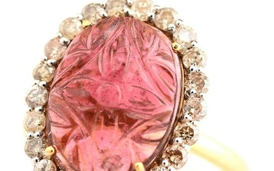 Pink Tourmaline, Diamond, 18k Gold Ring.
