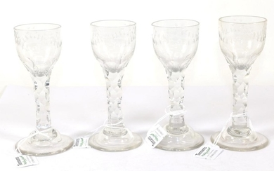 A Set of Four Wine Glasses, circa 1790, the ovoid...