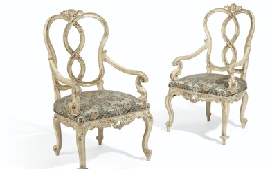 A PAIR OF NORTH ITALIAN CREAM AND POLYCHROME-PAINTED ARMCHAIRS, VENICE, MID-18TH CENTURY