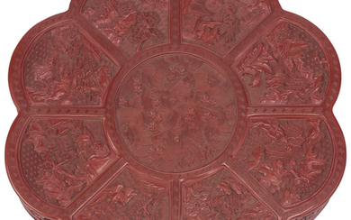 A Chinese Carved Cinnabar Lacquer Box