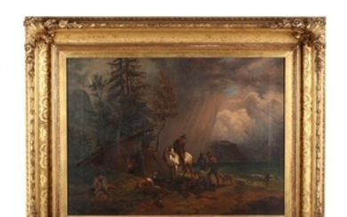 An Antique Munich School Painting of a Hunting Party