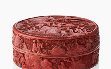 A carved Chinese cinnabar lacquer box and cover