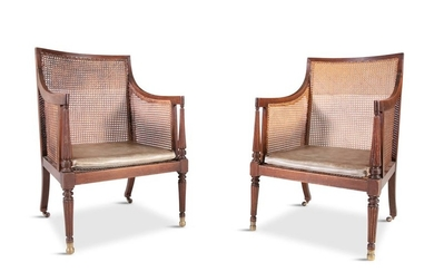 A PAIR OF GEORGE III MAHOGANY AND CANEWORK LIBRARY…