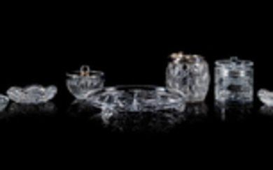 A Group of Seven Cut and Four Molded Glass Table Articl
