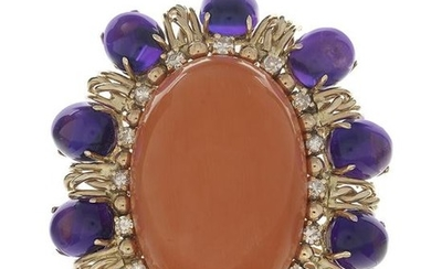 Large Coral, Amethyst and Diamond Ring