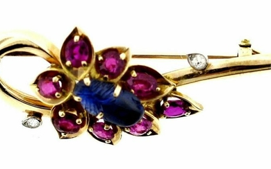 LOVELY Cartier 14k Yellow Gold, Carved Sapphire, Ruby &