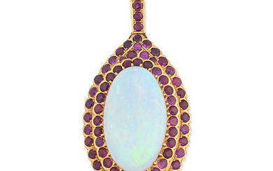 An opal and ruby pendant