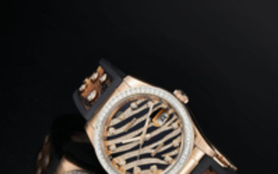 Rolex. A Pink Gold and Diamond-Set Wristwatch with 'Tiger Stripe' Dial and Date