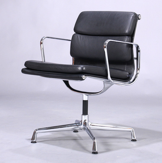 Charles Eames. Soft Pad lounge chair, Model EA-208, black leather