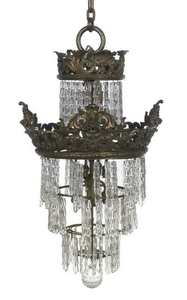 """French Bronze and Crystal """"Waterfall"""" Chandelier"""