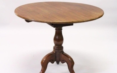 A GEORGE III MAHOGANY CIRCULAR TILT TOP TRIPOD TABLE,