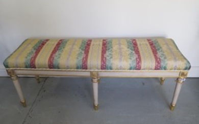An upholstered window seat on 6 turned legs, 130cm W x 48cm ...