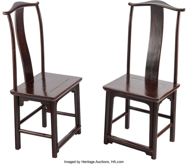 21288: A Pair of Chinese Elmwood Side Chairs, 19th cent