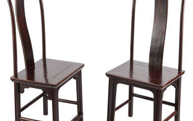 A Pair of Chinese Elmwood Side Chairs (19th century)