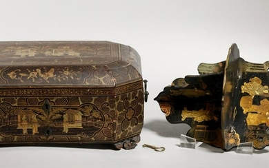 Chinese 19 C Gold on Lacquer Sewing Box; Sm Shelf