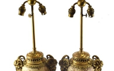 A Pair of Gilt Metal Mounted Marble Lamp Bases, in...