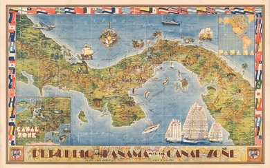 """""""Pictorial Map of the Republic of Panama with the Canal Zone"""""""