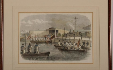 Victoria Albert's Royal Navy Review Engraving 1856