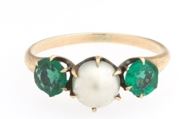 Ladies' Victorian Gold, Pearl and Green Stones Ring
