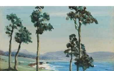 """UNKNOWN ARTIST (20th century) """"PEBBLE BEACH"""" Signed 'H. Maryland'..."""