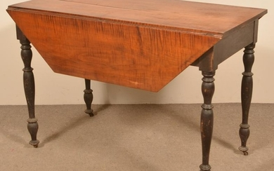 Sheraton Cherry and Tiger Maple Drop-Leaf Table.