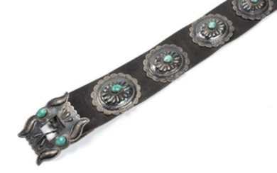 Navajo Turquoise and Silver Concho Belt
